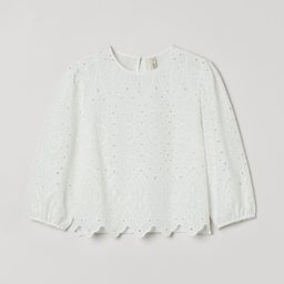 Boxy blouse in airy cotton with eyelet embroidery. Small stand-up collar, opening at back of neck...   H&M (US)