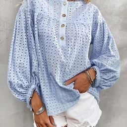 Eyelet Embroidery Bishop Sleeve Blouse   SHEIN