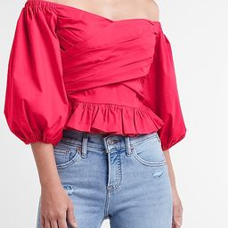 Off The Shoulder Puff Sleeve Wrap Front Top   Express