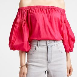 Pleated Off The Shoulder Balloon Sleeve Thong Bodysuit   Express
