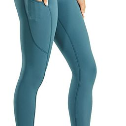 CRZ YOGA Women's High Waisted Compression Running Athletic Leggings with Pockets - Naked Feeling ... | Amazon (US)