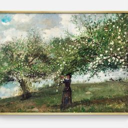 Picking Flowers   Vintage Landscape with Flowers, Vintage Summer Trees Painting, Printable Wall A...   Etsy (US)