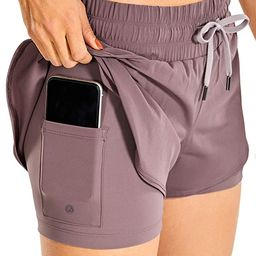 CRZ YOGA Workout Running Shorts Women with Liner 2 in 1 Athletic Sports Shorts with Zip Pocket- 3...   Amazon (US)