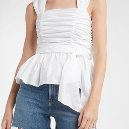 Belted Ruched Square Neck Peplum Tank   Express