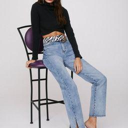 Split Hem High Waisted Straight Leg Jeans   NastyGal
