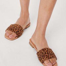 Leopard Faux Suede Open Toe Flat Sandals   NastyGal