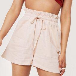 Linen Paperbag Waist Drawstring Shorts   NastyGal