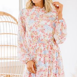 Right On Time Off White Ditsy Floral Dress   The Mint Julep Boutique