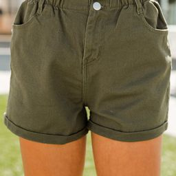 It's All So Simple Olive Green Paperbag Shorts   The Mint Julep Boutique