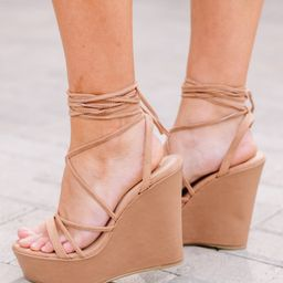Love Match Camel Brown Strappy Wedges   The Mint Julep Boutique