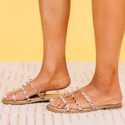 Look Sharp Tan And Clear Studded Side Sandals   The Mint Julep Boutique