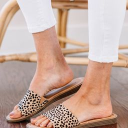 Walk With Me Tan Brown Spotted Slide Sandals   The Mint Julep Boutique