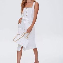 Linen-Blend Button-Front Dress | Forever 21 (US)