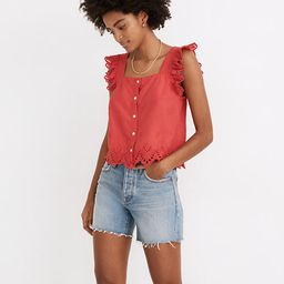 Eyelet Ruffle-Strap Button-Up Tank Top   Madewell