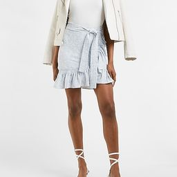High Waisted Floral Belted Ruffle Wrap Mini Skirt   Express