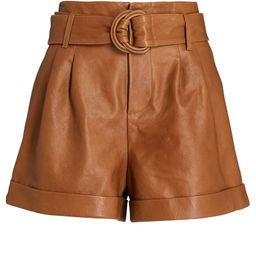 Leather Belted Paperbag Shorts   INTERMIX
