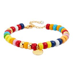 Scoop 14K Gold Flash-Plated Multi-Color Bracelet with Coin Charm   Walmart (US)