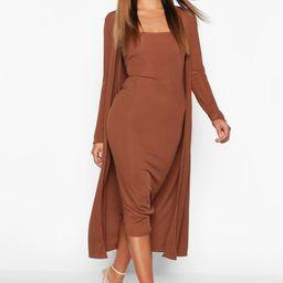 Ribbed Midi Dress and Duster Set   Boohoo.com (US & CA)