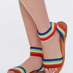 Rainbow Dual-Strap Flat Sandals   Forever 21 (US)