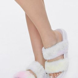 Faux Fur Rainbow Wash Slippers   Forever 21 (US)