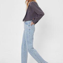 High Waisted Split Hem Straight Leg Jeans   NastyGal