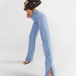 High Rise Split Hem Straight Leg Jeans   Boohoo.com (US & CA)
