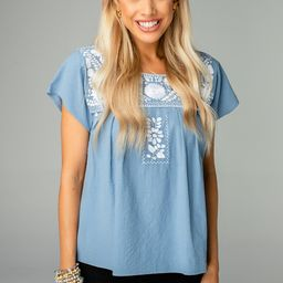 Anniston Short Sleeved Embroidered Top - Blue   BuddyLove