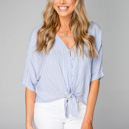 Marco Tie Front Button Up Short Sleeved Top - Blue Stripe   BuddyLove