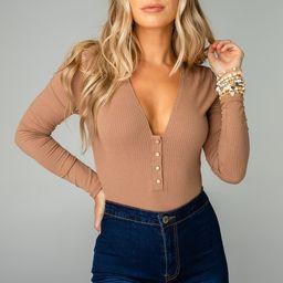 Alexa Button Front Ribbed Bodysuit - Mocha   BuddyLove