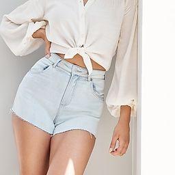 Super High Waisted Knit Light Wash Raw Hem Curvy Jean Shorts | Express