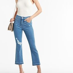 High Waisted Ripped Raw Released Hem Cropped Flare Jeans | Express