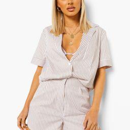Tonal Stripe Relaxed Fit Shirt   Boohoo.com (US & CA)