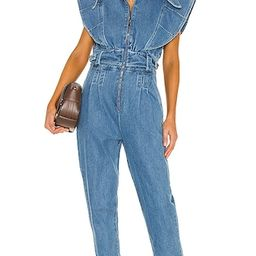 IORANE Blue Jeans Jumpsuit in Blue. - size S (also in XS) | Revolve Clothing (Global)
