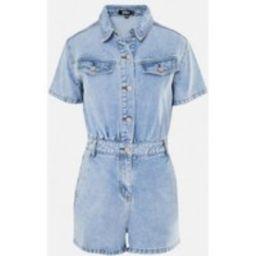 Blue Short Sleeve Denim Romper | Missguided (US & CA)