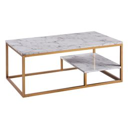 Versanora Marmo Faux Marble and Brass Coffee Table, Faux Marble/Brass | The Home Depot