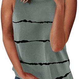 Biucly Women's Crewneck Tank Tops Casual Loose Sleeveless Blouse Shirts | Amazon (US)