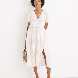 Linen-Blend Clara Midi Dress in Plaid   Madewell
