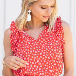 In This Light Red Ditsy Floral Tank   The Mint Julep Boutique