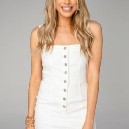Charlize Denim Dress - White | BuddyLove