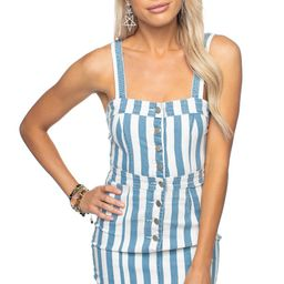 Charlize Denim Dress - Blue Stripe | BuddyLove