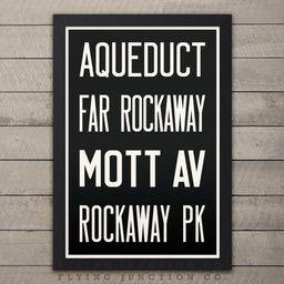 QUEENS (AQUEDUCT / ROCKAWAY) New York City Subway Sign. Bus Scroll. 12 x 18 Rollsign Print | Etsy (US)