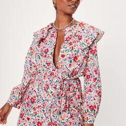 Floral Print Collar Detail Ruffle Mini Dress   NastyGal
