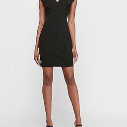 Ruffle Sleeve Dress Black Women's M Petite   Express