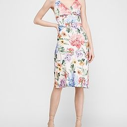Satin Floral Wrap Front Midi Slip Dress Pink Women's XS Petite   Express