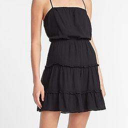 Tiered Square Neck Mini Dress Black Women's M Petite | Express