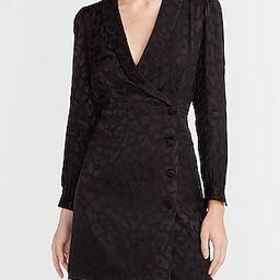 Leopard Jacquard Blazer Dress Black Women's L   Express