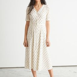 Pleated V-Neck Midi Dress   & Other Stories