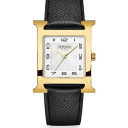 Heure H 30.5MM Goldplated & Leather Strap Watch | Saks Fifth Avenue