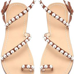 JF shoes Women's Crystal with Rhinestone Bohemia Flip Flops Summer Beach T-Strap Flat Sandals   Amazon (US)