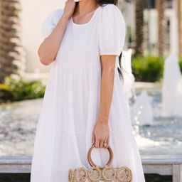 Keep Your Secrets White Tiered Midi Dress | The Mint Julep Boutique
